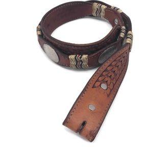 Vintage Tooled Leather Cowboy Rodeo Belt